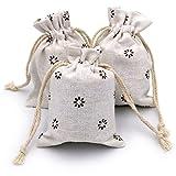 20 Stück Leinensäckchen 9x12cm Leinen Beutel Säckchen Baumwollbeutel mit praktischen Zugband Perfekt für,Lavendelblüten , Schmuck Geschenke (Braun Blume)