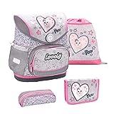 Belmil ergonomischer Schulranzen Set 4 -teilig für Mädchen 1-4 Klasse Grundschule//Brustgurt/Magnetverschluss/Katze, Cat/Grau, Grey (405-41 Pussycat Love)