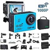 WiFi Actioncam Full HD 1080P Unterwasserkamera Digital Wasserdicht 2.0 Zoll LCD Helmkamera mit 2 Stü. Batterien, Action cam für Kinder, Motorrad, Kids,Extremsport , Wassersport, Schwimmen, Surfen, Tauchen, Outdoor-Sportaktivitäten, Fahrrad, Auto DVR