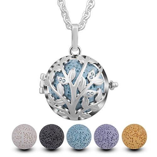 INFUSEU Aromatherapie Ätherisches Öl Diffusor Halskette, Lebensbaum mit Zirkonia Silber überzogene Anhänger Parfüm mit 5 Lava Steinen & Kette 61cm (Aromatherapie-stein-diffusor)