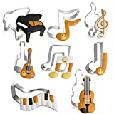 TAMUME Stainless Steel Music Cookie Cutter Set with 8 Pieces of Cookie Press Biscuit Mould Including Piano Biscuit Press, Violin Cookie Mould, Musical Notes Biscuit Cutter, Keyboard Cookie Mould, Cake Ring (Music 8pc)