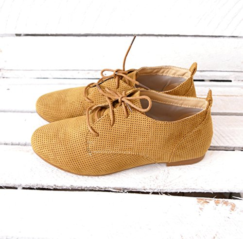 Damen Schuhe Ankle Boots Chelsea Booties Stiefeletten Flats Schnür - Stiefeletten (8265) Camel
