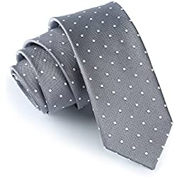 "Elviros hombre Eco-friendly lunares Slim Tie 2.4 ""[cm] - Gris -"