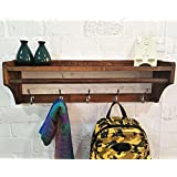 Perchero de pared Percha de madera maciza 5 ganchos Estante multifuncional de apertura simple (5 hooks = 65.5cm, Walnut color)