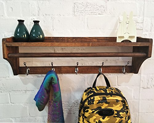 Wall-mounted Coat Rack-regal (Vintage Solid Coat Rack Wand Holz Kleiderbügel 5 Haken Multifunktionale Schlafzimmer Einfache Regal Coat Rack Wall Mounted mit Regal Organizer (Walnut Farbe, 5 Haken = 65,5 cm))