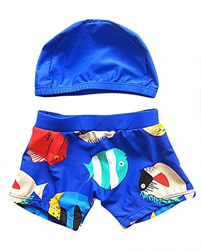 Moollyfox-Conjunto-Infantil-de-Traje-de-Bao-con-Gorro-de-Bao-para-Nios-Azul-S