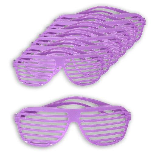 6 x Rave Partybrille Shutter Shades Atzenbrille Atzen Brille Nerdbrillen in rot, lila, schwarz, weiß, pink, rosa oder bunt sortiert (6x lila) (Shutter Shade Brille)