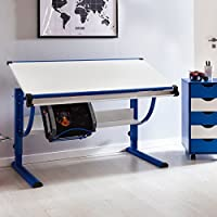 Preisvergleich für Wohnling Design Kinderschreibtisch Moritz Holz 120 x 60 cm blau/weiß | Jungen Schülerschreibtisch neigungs-verstellbar | Schreibtisch Kinder höhenverstellbar