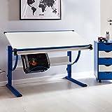 Design Kinderschreibtisch Moritz Holz 120 x 60 cm blau/weiß | Jungen Schülerschreibtisch neigungs-verstellbar | Schreibtisch Kinder höhenverstellbar