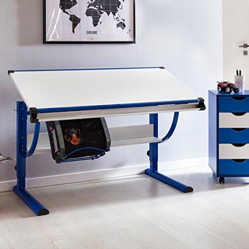 Schreibtisch Für Verstellbarer Kinder (WOHNLING Design Kinderschreibtisch MORITZ Holz 120 x 60 cm blau / weiß | Jungen Schülerschreibtisch neigungs-verstellbar | Schreibtisch Kinder höhenverstellbar)