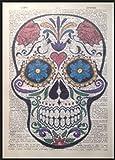 Candy Sugar Skull Print Vintage Wörterbuch Seite Art Wand Bild Bright Rosen