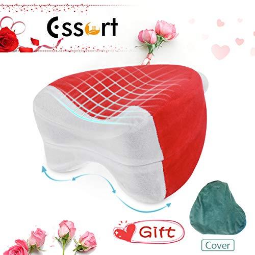 Essort Knie-Kissen, Memory-Schaum kniekissen,orthopädisches kniekissen für seitenschläfer mit 2 waschbaren Kissenbezügen