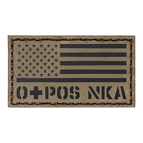 IR USA Flag OPOS O+ Blood Type Tan Coyote Brown NKA NKDA Infrared Tactical Morale Hook-and-Loop Patch (Blood Flag)