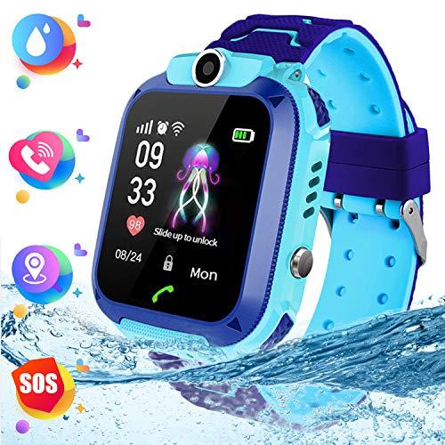 """Montre Smart Watch Tracker pour Enfants - Smartwatches pour Enfants IP67 étanche 1.4"""" Ecran Téléphonique Chat Conversation Réveil,Montre Intelligente pour Enfants de 3 à 14 Ans (Blue)"""