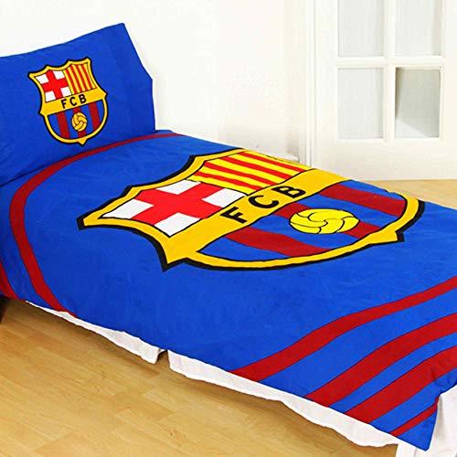 Este oficial FC Barcelona funda nórdica incluye una funda nórdica para cama individual y funda y ambos los artículos están fabricados en 52% poliéster y 48% algodón.