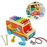 Piano de xilófono, Clasificador de formas, Pull Along Car, Animales de madera Regalos de cumpleaños de Navidad para niños de 18M +