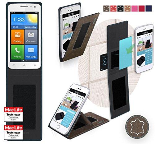 reboon Hülle für Elephone G3 Tasche Cover Case Bumper | Braun Wildleder | Testsieger