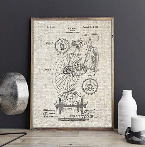 Aymsm Rennrad Druck Fahrrad Kunst Wandkunst Segel Malerei Poster Home Raumdekoration Vintage Blaupause Geschenk kreative 40x60cm rahmenlose