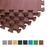 BodenMax CRS804910-3030-18 Bodenmatte Puzzle Teppich Eva Dunkles Holzmuster 30x30x1 cm (18 Stück)