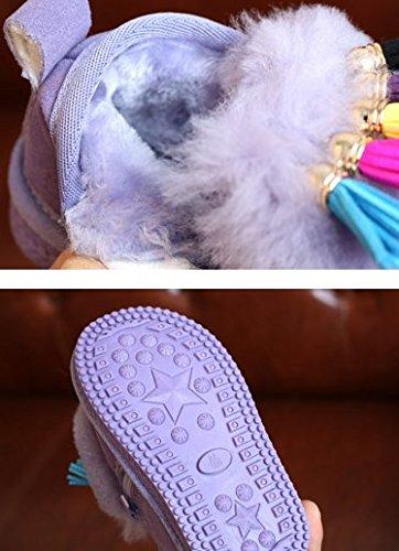Ohmais Enfants Garçon Fille bottes et bottines botte classiques fille petit talons Chaussure Violet