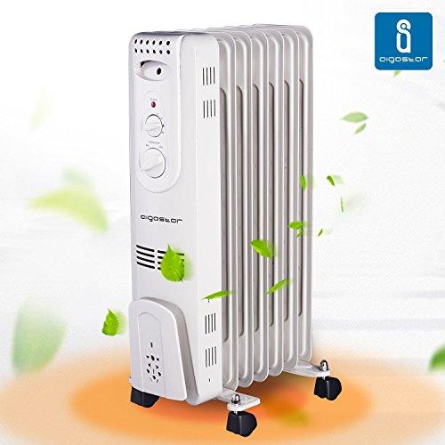 Aigostar Hotwin 33ICZ - Radiatore ad Olio 1500W. 7 elementi. 3 Livelli di Temperatura e Termostato. Design e Garanzia esclusivi Aigostar