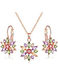 Cubic Zirconia Rose Gold Plated Flower Necklace Set With Earrings For Women Girl