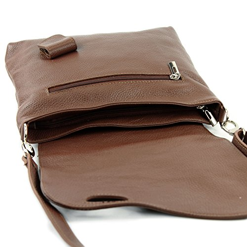 modamoda de -. cuoio ital Borsa da donna Messenger bag borsa a tracolla in pelle borsa NT07 2in1 Braun