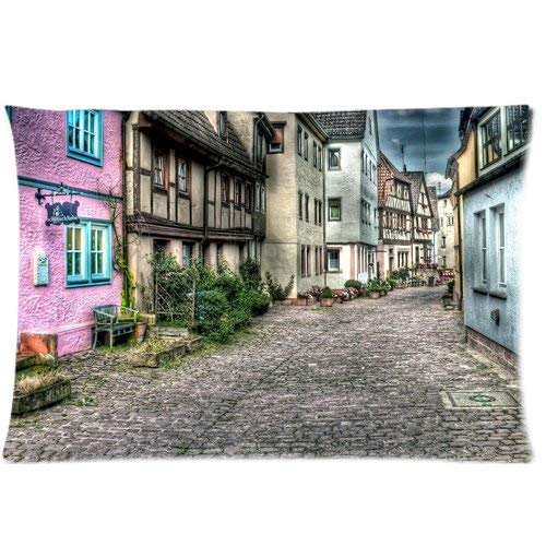 fujianshen Old Town City Streets Art Custom Zippered Pillow Cases Soft and Confortable 20