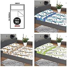 """ADP Home - Juego de sábanas 3 piezas """"brush"""" (funda de almohada, bajera ajustable y sábana encimera), cama de 90 cm"""