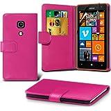 (Hot Pink) Nokia Lumia 625 Schutzfolie Faux Credit / Debit Card Leder Book Style Tasche Skin Case Hülle Cover, Aus- und einfahrbarem Touchscreen Stylus Pen & LCD-Screen Protector Guard von Spyrox