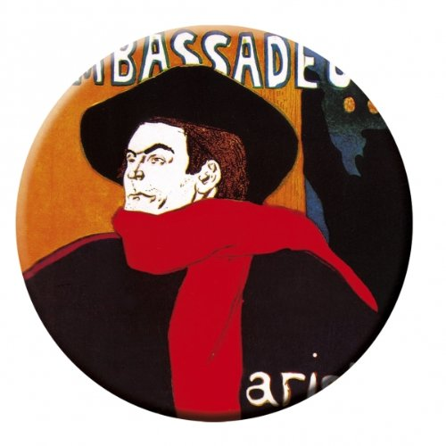 "'FRIDOLIN Taschenspiegel, 7,6cm ""T. Lautrec: Botschafter aus Metall"