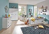 lifestyle4living Jugendzimmer, Komplett-Set, Jungen, Jugendzimmermöbel, Kinderzimmer, Kindermöbel, Kleiderschrank, Bett, 5-teilig, Weiß, Türkis, Blau