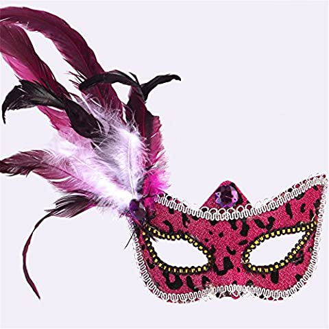 Halloween Mask Make-Up Dance Show Painted Feather Lace Beautiful Princess Fun Masks,Rouge à vin