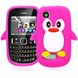 Magic Global Gadgets Coque en gel de silicone souple avec film protecteur pour Nokia Asha 200 / 201 Design pingouin en relief Rose