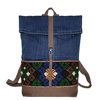 Ethno Tagesrucksack mit Überschlag Denim Daypack Moderner Rucksack Frauen & Mädchen Jeansstoff mit Stickerei blau beige bunt Fronttaschen für Schule Freizeit Reisen