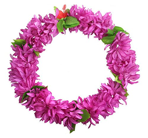 Prpura-hawaiano-de-Luau-2-piezas-de-la-flor-de-Leis-Collares-fuentes-del-acontecimiento
