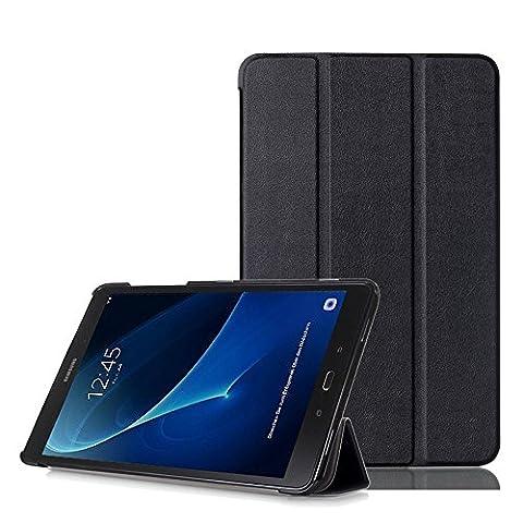 XITODA Coque Galaxy Tab A6 10.1 - PU Cuir Smart Cover Case avec Stand & Fonction Sommeil/Réveil Automatique Étui pour Tablette Samsung Galaxy Tab A 10,1 Pouces 2016 (LTE SM-T585N / WiFi SM-T580N) Housse de Protection Pochette,A-Noir