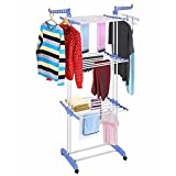 Kumaka Full Size, Heavy Duty Double Pole Cloth Drying Stand, Laundry Rack Stand