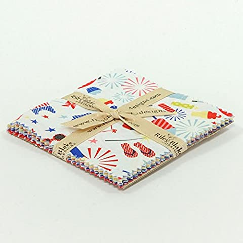 Riley Blake 18 Piece CHARM SQUARES - SUMMER CELEBRATION Summer Paisley Floral Spotty Spots Geometric Fabric Quilting Fabric Quilting Squares Patchwork Quilting Bundle - Red White Blue Yellow Green by Riley Blake - 12.5 x 12.5 cm pieces (5