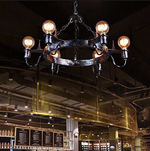 Kommerzielle Lounge (GCCI Industrielle Kronleuchter Retro, Kunst des Eisenkopfes Sechs E27 Restaurant Bar Lounge Lampe Lampen der Decken Engineering Club Kommerzielles Zentrum Lampe Fabrik Kronleuchter der Decke Creative)