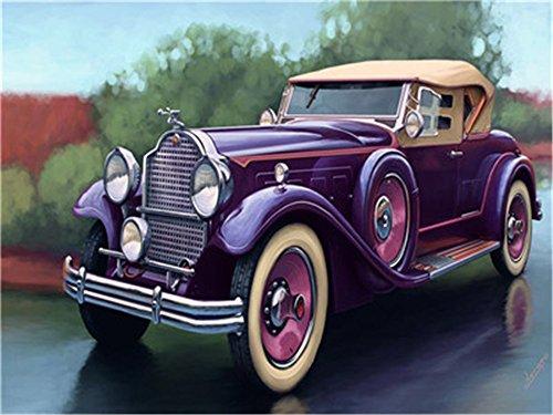 DIY Öl Malen nach Zahlen Kit für Erwachsene Anfänger 40,6x 50,8cm-Violett Auto, Zeichnen mit Pinsel Weihnachten Decor Dekorationen Geschenke Frame -