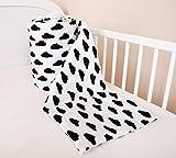 Amilian® Bettumrandung Nest Kopfschutz Nestchen 420x30cm, 360x30cm, 180x30 cm Bettnestchen Baby Kantenschutz Bettausstattung Wolken weiß (360x30cm)