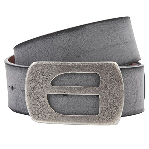 Lindenmann The Art of Belt Womens leather belt/Mens leather belt, full grain leather belt with plate buckle, Unisex, grey