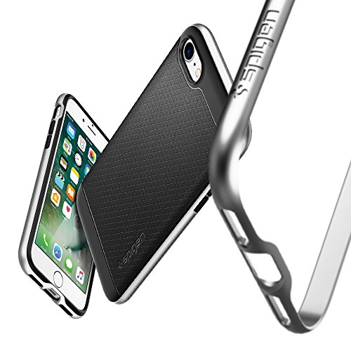 iPhone 7 Hülle, Spigen® [Neo Hybrid] Dual-Layer Schutzrahmen [Gunmetal] TPU Schale + PC Farbenrahmen / 2-teilige Premium Handyhülle / Schutzhülle für iPhone 7 Case, iPhone 7 Cover - Gunmetal (042CS205 Schwarz, Silber