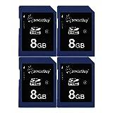 Smart kaufen SDHC Class 4Flash Speicherkarte SD HC Secure Digital C4Schnell, Geschwindigkeit, für Kamera (8GB (5er Pack)) blau / schwarz 8GB (4-Pack)