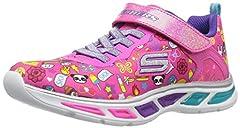 Idea Regalo - Skechers Litebeams-Feelin' It, Scarpe Running Bambina, Rosa (Neon/Pink/Multi), 31 EU