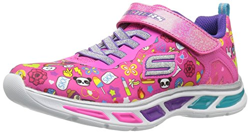 Skechers litebeams-feelin' it, scarpe running bambina, rosa (neon/pink/multi), 33 eu