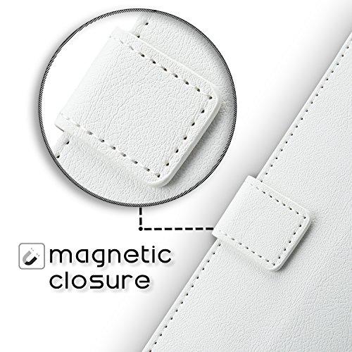 Coque iPhone X, iPhone 10, SLEO Vintage Portefeuille en PU Cuir Protecteur Support à Rabat Magnétique Couverture Unique Style Portable Antichoc Housse Etui Coque pour iPhone X, iPhone 10- Blanc Blanc