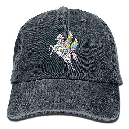 Presock Geometric Pegasus Rainbow Denim Hat Adjustable Female Washed Baseball Cap