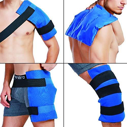 Envoltura de gel flexible reutilizable con banda elástica para terapia de frío en la cadera, hombro, espalda, rodilla, alivio del dolor del dolor muscular, esguince, lesiones - 11'x 14'
